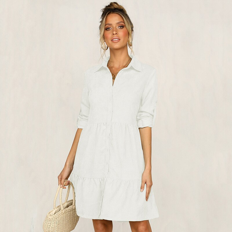 5 Colors 2020 Autumn Dress Women Pink Pleated half sleeve Shirt dress Female Ruffles Casual loose ladies Solid Winter Dresses 2