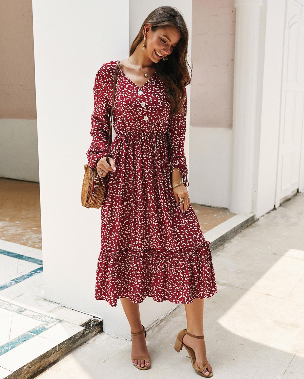 ZITY Vintage Floral Print Maxi Dress Women Boho Long Sleeve V -Neck Lantern Sleeve Long Dress Casual Ruffles Shirt Dresses Robe 2