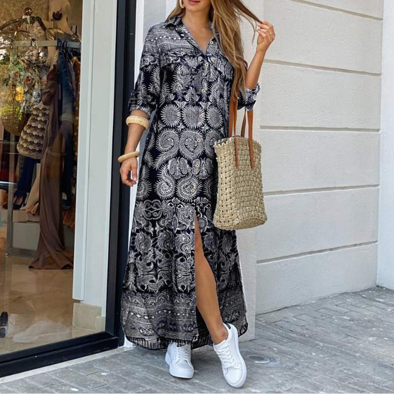 VONDA Women Dress 2020 Summer Vintage Printed Lapel Neck Party Maxi Dress Casual Long Sleeve Shirt Dresses Bohemian Vestidos 5XL
