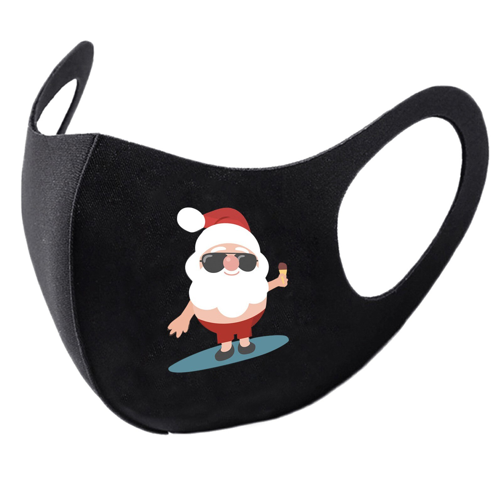 5pc Adult Christmas Face Mask Washable Mouth Fabric Facial Mask For Protection Reusable Santa Earloop Mouth Caps Маска mask 9.29 2