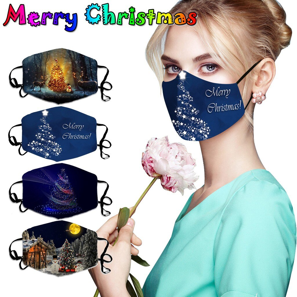 Merry Christmas Face Mask Adults Unisex Christmas Mask Mouth Cover Warm Windproof Cotton Face Mask Anti-dust Protective Masque