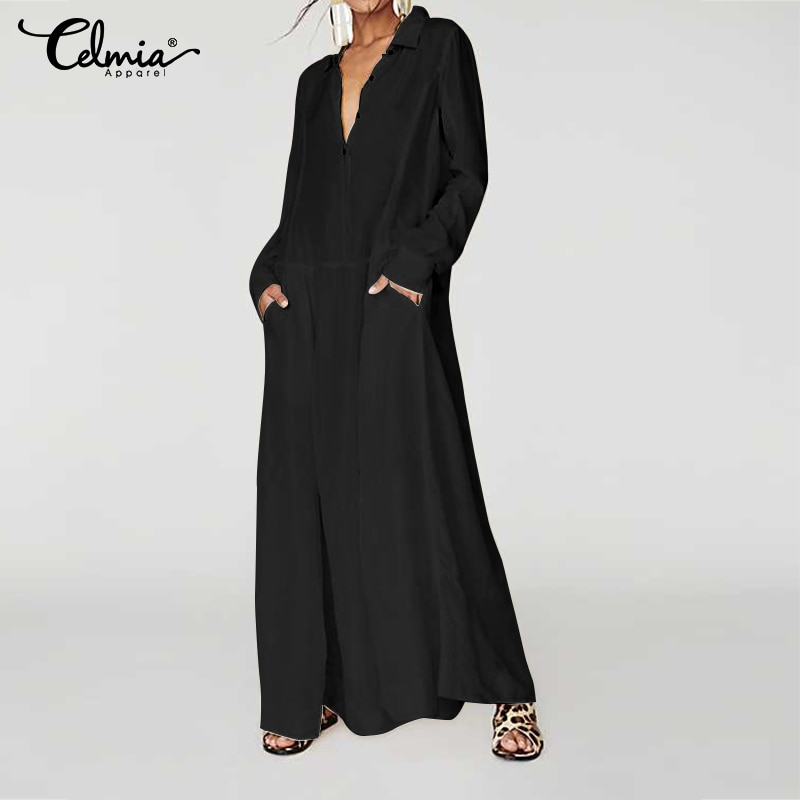 Plus Size Dress 2020 New Celmia Vintage Women Casual Long Maxi Dress Long Sleeve Loose Buttons Pleated Shirt Vestidos Party Robe 2