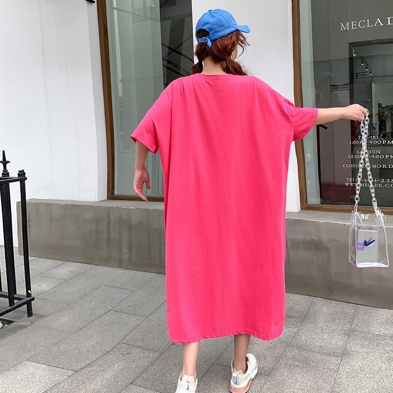 Home Oversized T Shirt Dress Women Summer 2020 Casual Plus Size Loose 'Hi ' Midi Dresses Short Sleeve H Cut Long Tee Shirt 2