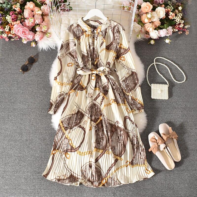 Spring Autumn Women's Pleated Dress Long-sleeved Shirt Dress Korean Retro Ethnic Style Long-sleeved Dress Plus Size Dress GD518 3