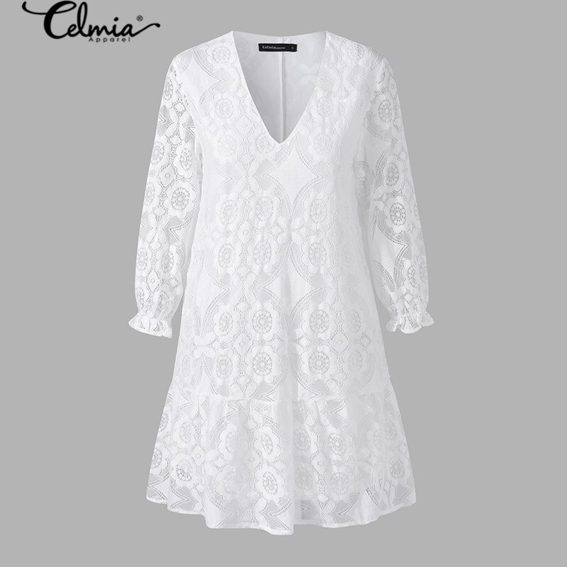 2020 Bohemian Lace Women Summer Dress Celmia Fashion Vintagr Sundress Female Casual V Neck Mini Vestidos Party Shirt Robe S-5XL 2