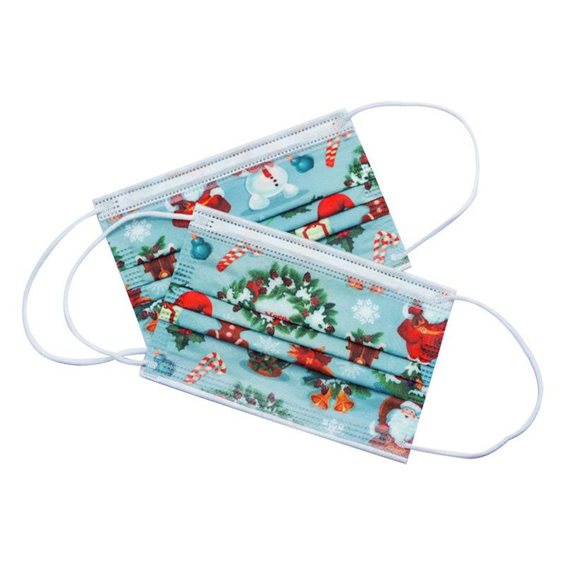 10/50/100pcs Disposable Christmas Face Mask Style Layer 3 Non-woven Fabrics Cartoon Printing Anti-dust Mouth Mask For Kids 3
