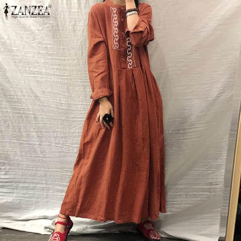 2020 ZANZEA Autumn Long Sleeve Sundress Women Casual Cotton Linen Kaftan Vintage Embroidery Work Long Shirt Dress Female Robe 1