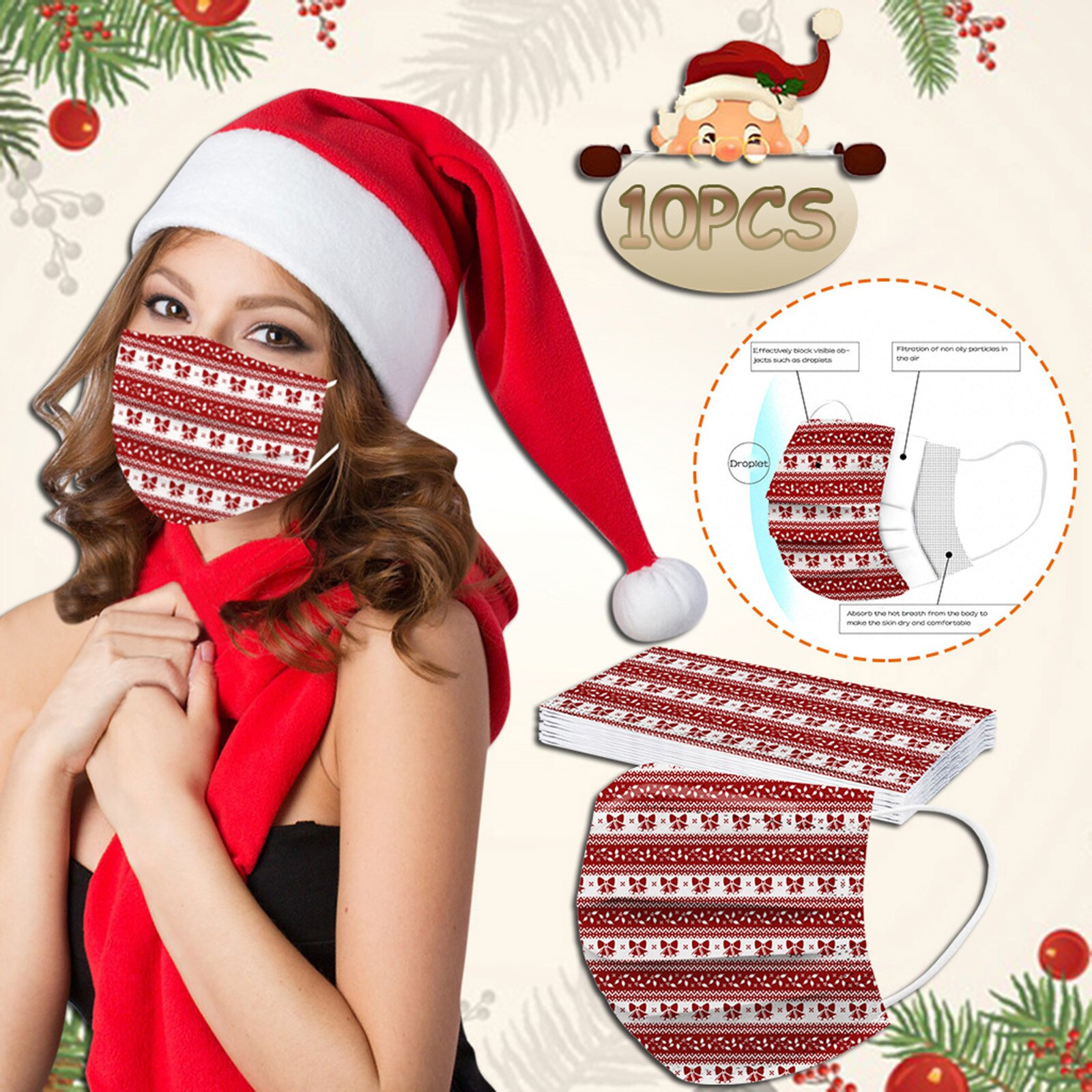 Mascarilla 10pcs Adult Woman Mask Disposable Christmas Face Mask Fashion Cartoon 3ply Earloop Mouth Caps Disposable Navidad 1