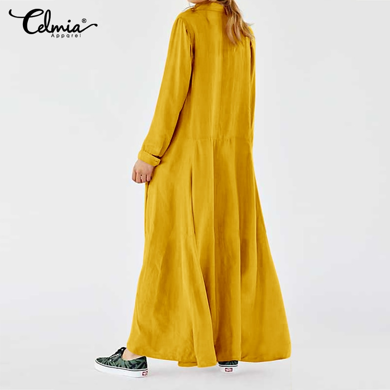 Plus Size Dress 2020 New Celmia Vintage Women Casual Long Maxi Dress Long Sleeve Loose Buttons Pleated Shirt Vestidos Party Robe 4