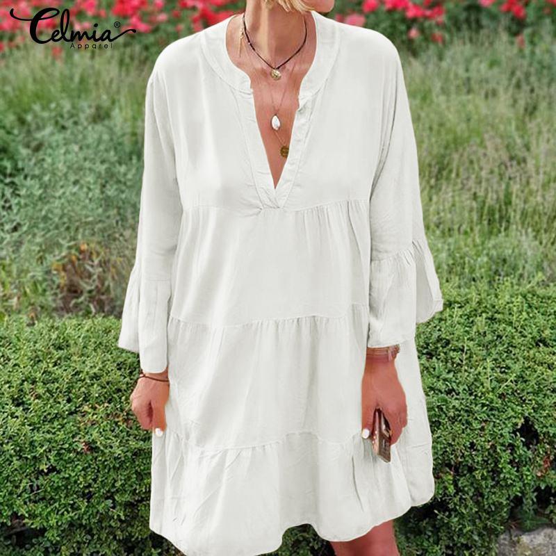 Celmia Bohemian Women Sexy Mini Dress Ladies V neck Flare Sleeve Casual Loose Pleated Long Shirt Vestidos Plus Size Sundress 5XL 4