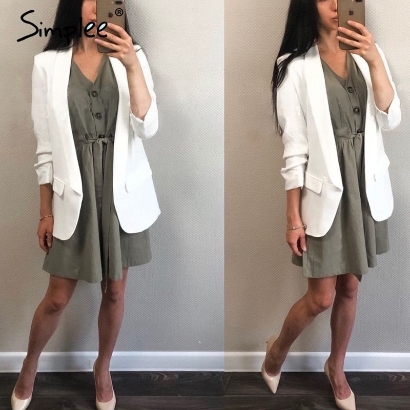 Simplee Vintage buttons women dress shirt V neck short sleeve cotton linen short summer office dresses Casual korean vestidos 4