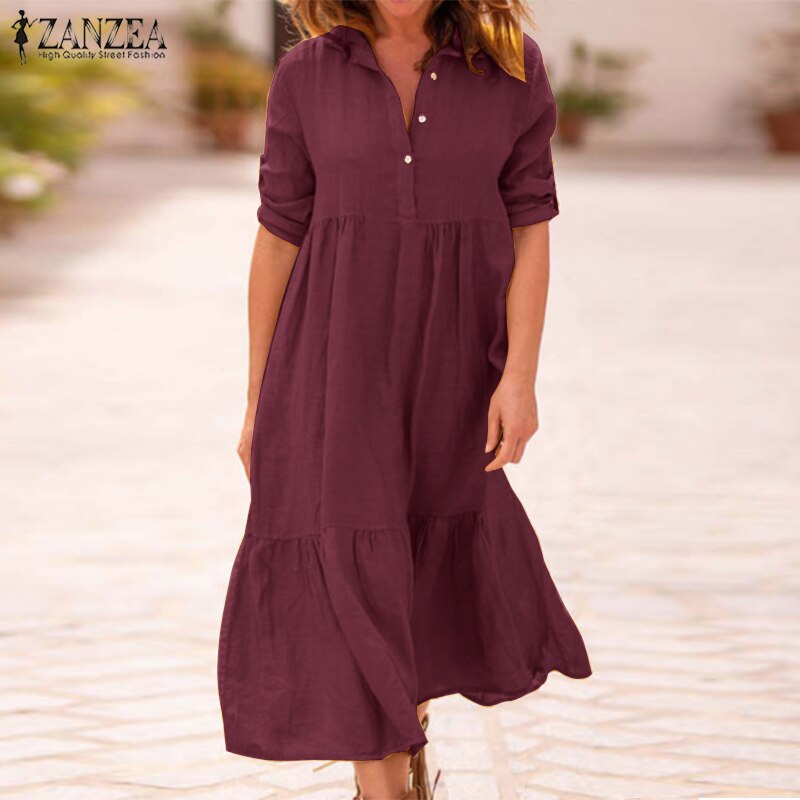 ZANZEA Women Lapel Neck Cotton Linen Dress Autumn Casual Solid Work OL Sundress Robe Femme Long Sleeve Shirt Vestido Ladies 5XL 2