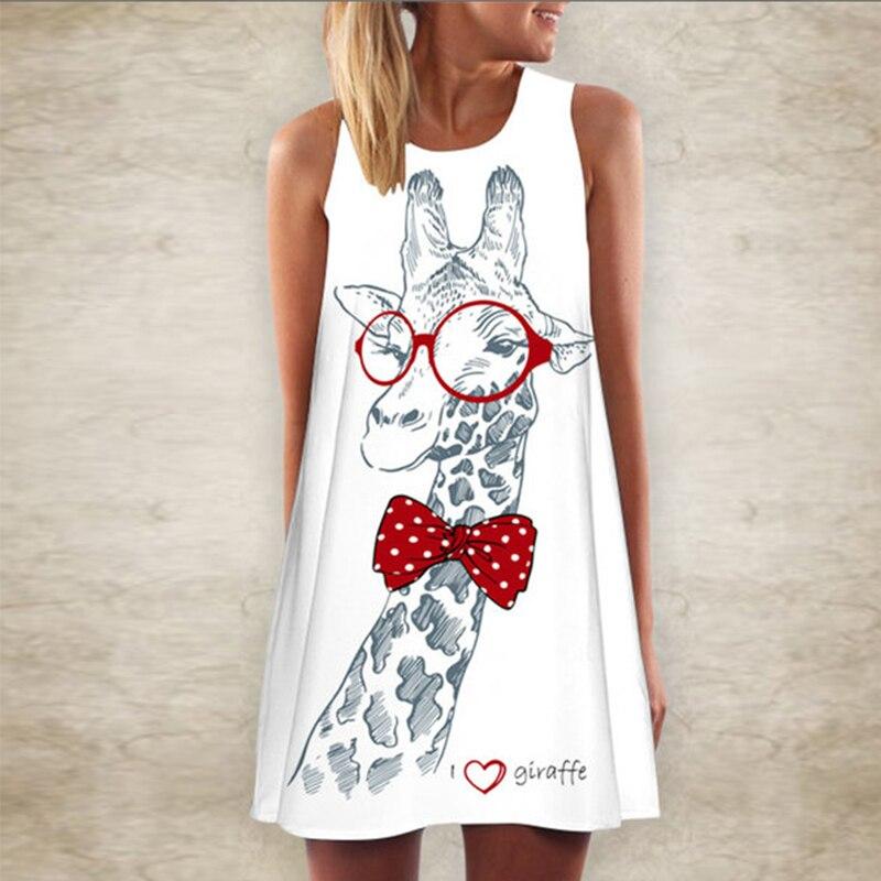 5XL Women Giraffe Print T Shirt Mini Dress Summer Sleeveless Party Dress 2020 Fashion Elegant O Neck A-Line Dress Vestidos Femme 2