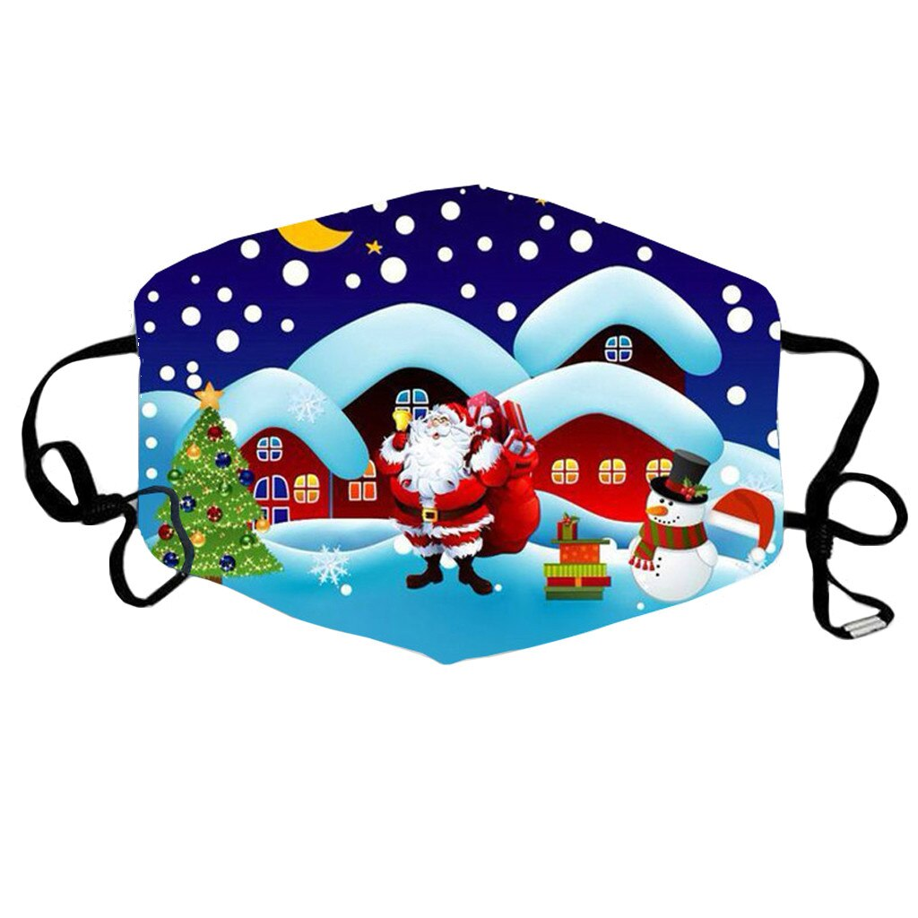 1 PC Christmas Face Mask Printed Reusable Washable Mask Breathable Multi-Purpose Mouth Cover 4