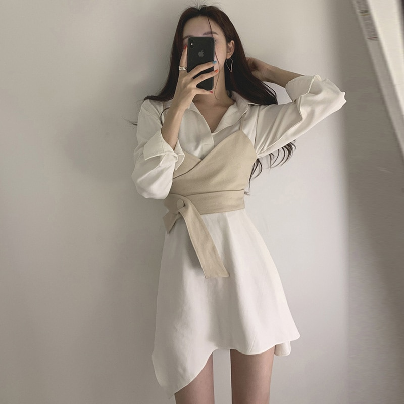 Summer Women's Shirt Dress Empire Sashes Patchwork A-line button Turn-down Collar Mini Shirt Dress Sexy Female Dress Women PL051 1