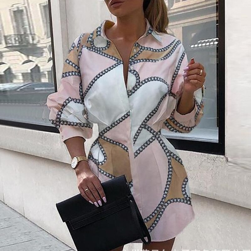 Women Letter Printed Shirt Dress 2020 Autumn Party Dress Lady Office Long Sleeve Shirt Turn-down Collar Slim Waist Button 4