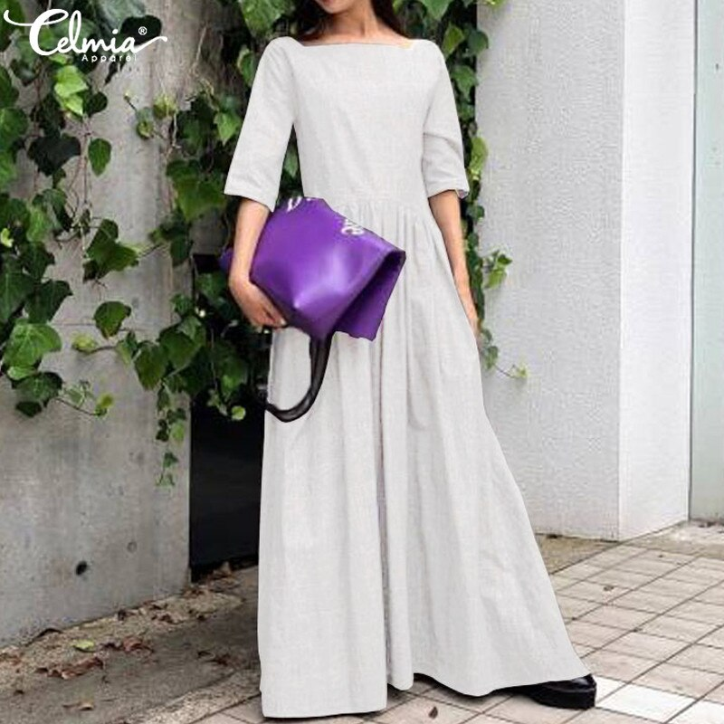 Celmia 2020 Women Vintage Long Ruffles Dress Summer Sundress Casual Solid Loose Half Sleeve Pleated Shirt Vestido Robe Plus Size