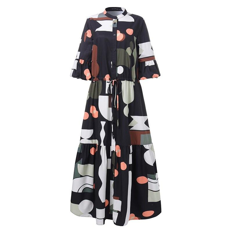 ZANZEA Summer Fashion Printed Party Shirt Dress Short Flare Sleeve Sundress Women Casual Lace-Up Bohemian Long Vestidos Female 3