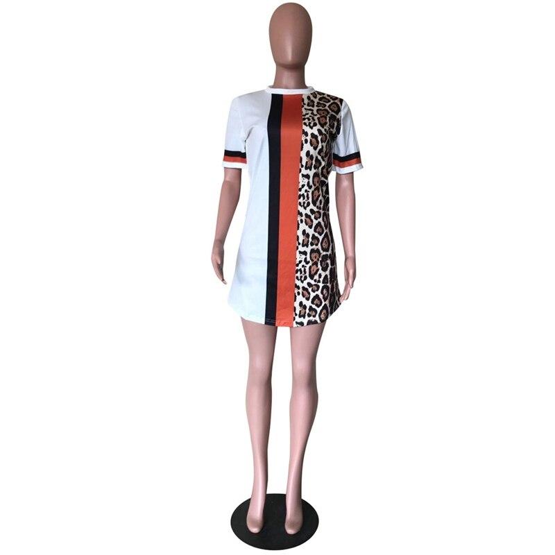 Patchwork Leopard Print Dress for Women Streetwear Short Sleeve Casual Summer Dress 2020 Beach Mini Loose T Shirt Dress Vestidos 4
