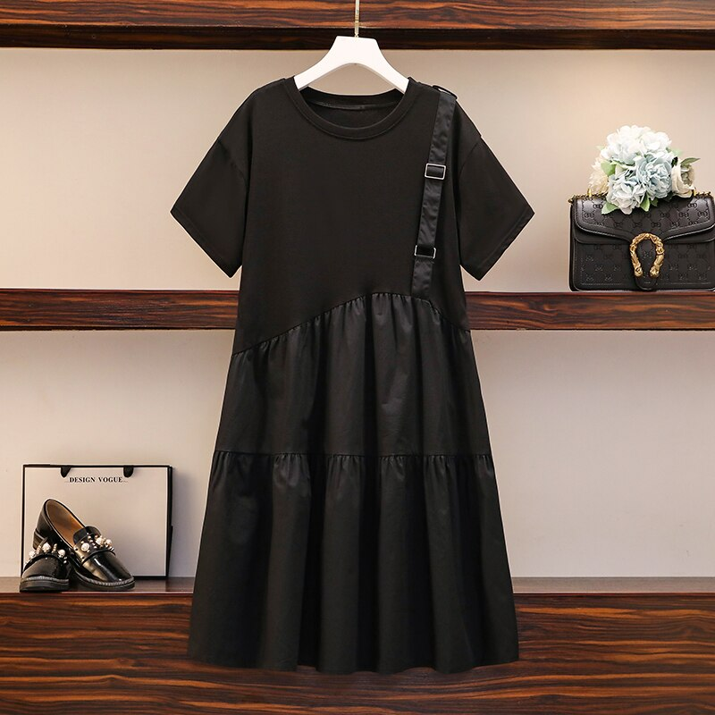 Plus Size Women Casual Dress Summer 2020 Korean Fashion Short Sleeve T Shirt Patchwork Single Strap Loose Ruffle Dresses 5XL 2