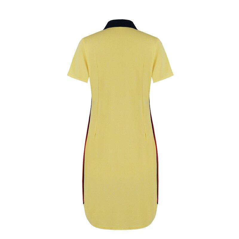 Fashion Brand Women Polo Dress T Shirt Short Sleeve Summer Elegant Patchwork Female Pink Dark Red Casual Plus Size 6XL Vestidos 4