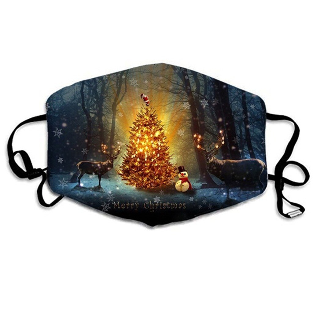 Merry Christmas Face Mask Adults Unisex Christmas Mask Mouth Cover Warm Windproof Cotton Face Mask Anti-dust Protective Masque 3