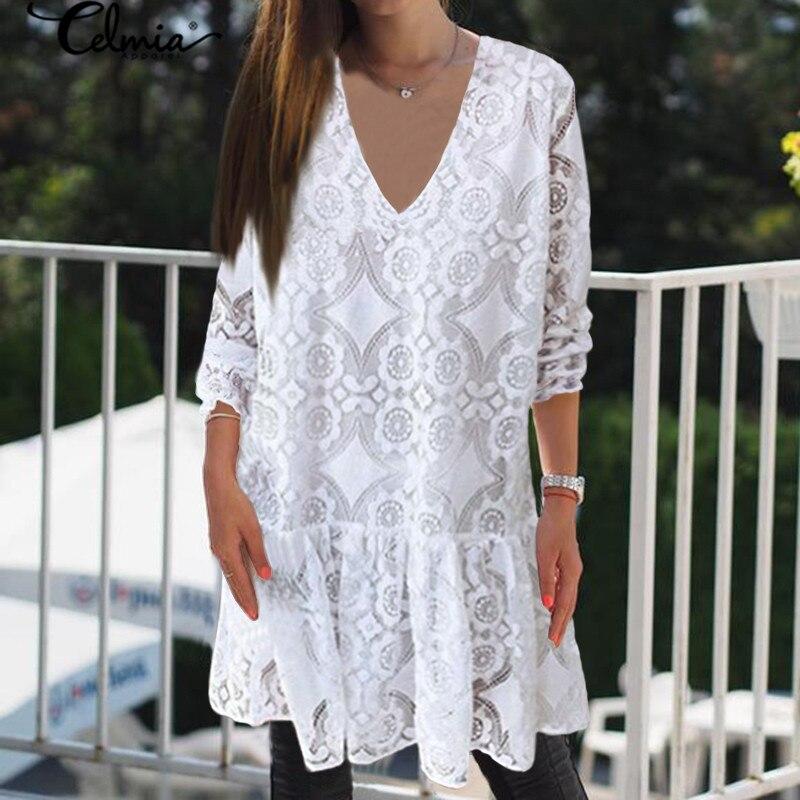 2020 Bohemian Lace Women Summer Dress Celmia Fashion Vintagr Sundress Female Casual V Neck Mini Vestidos Party Shirt Robe S-5XL