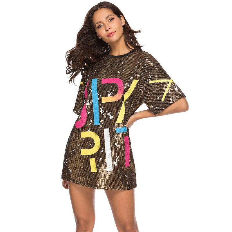 Woman Club Dresses 2019 Sequin T Shirt Dress Plus Size Loose Tee Shirts Glitter Tops Summer Dress Sequin tops 2