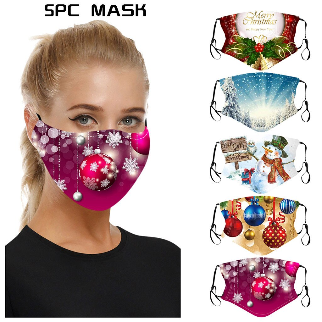 5PC Adult Xmas Mixed Mouth-Mask Reusable Washable Christmas Face Mask Masque Earloop Adjustable Outdoor Facemasks Mascarillas #