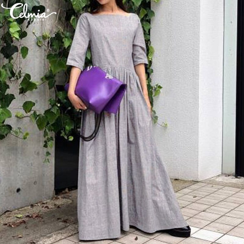 Celmia 2020 Women Vintage Long Ruffles Dress Summer Sundress Casual Solid Loose Half Sleeve Pleated Shirt Vestido Robe Plus Size 3
