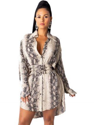 Snake Print Lengthy Sleeve Shirt Costume