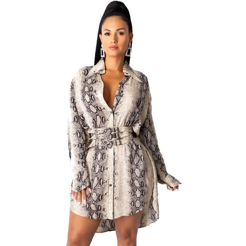 Snake Print Long Sleeve Shirt Dress Women Fall Office Short Mini Shirt Dress Button Turn Down Collar Elegant Casual Autumn Dress