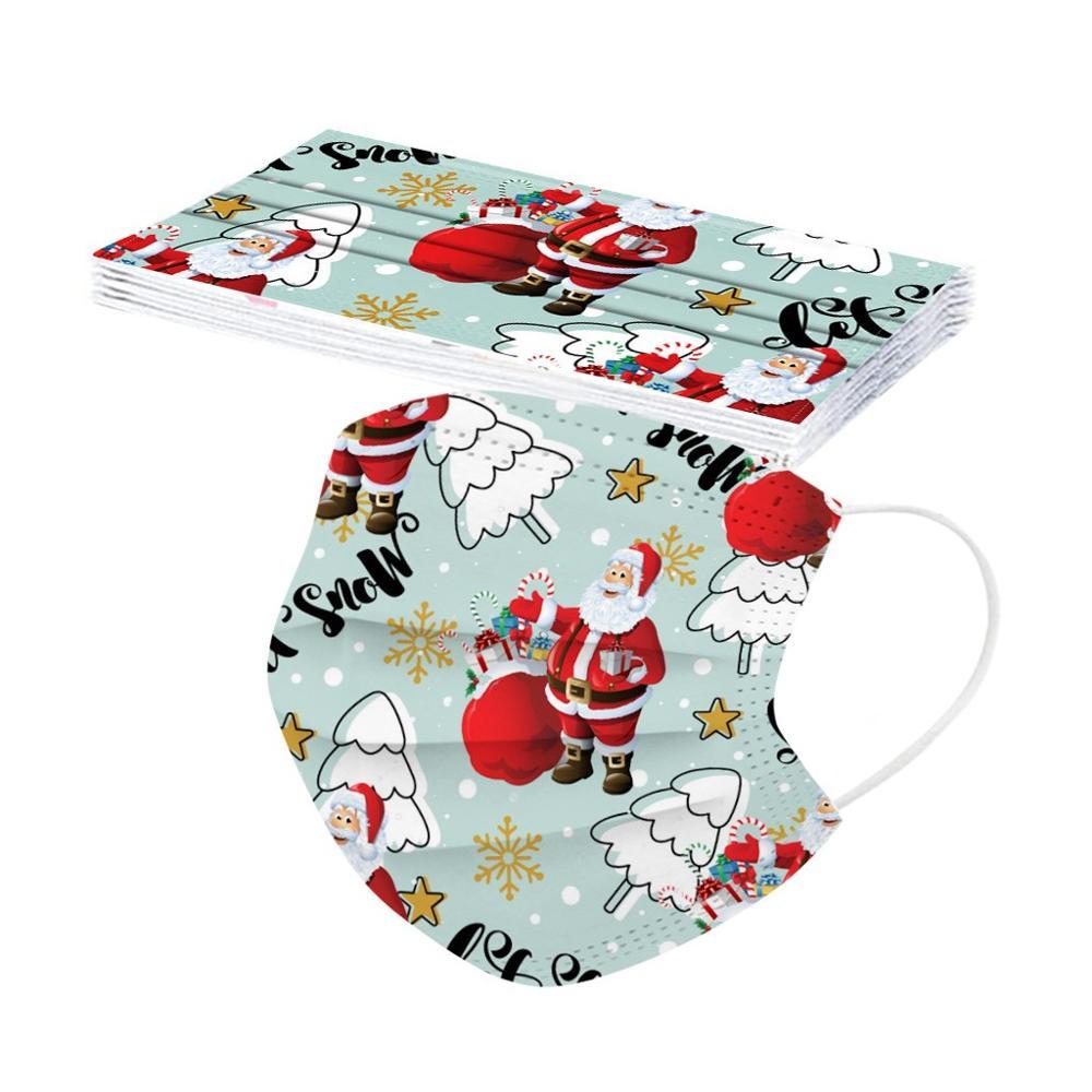 10pcs Christmas Face Mask Disposable Santa 3ply Earloops Adult Facemask mascarillas navidad tapabocas Mascherine masque Маска 2