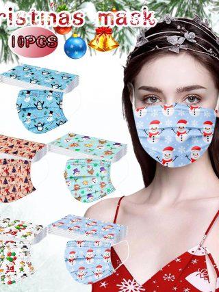 10pc Christmas face Masks Adults Unisex Disposable
