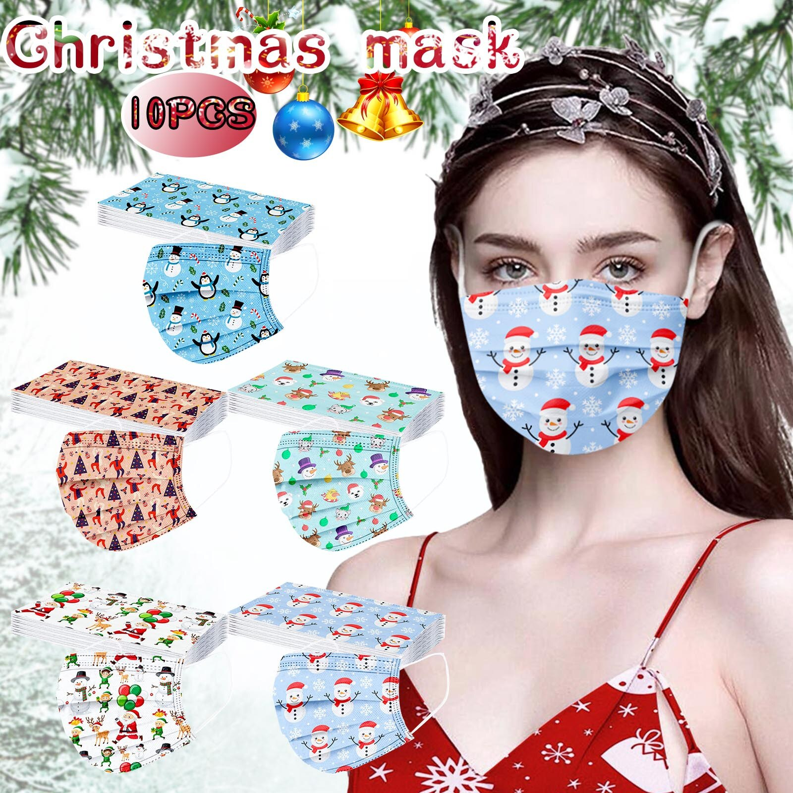 10pc Christmas face Mask Adults Unisex Disposable three-layer Nonwove Mascarillas High Quality Masks elastic Earloop Mascherine