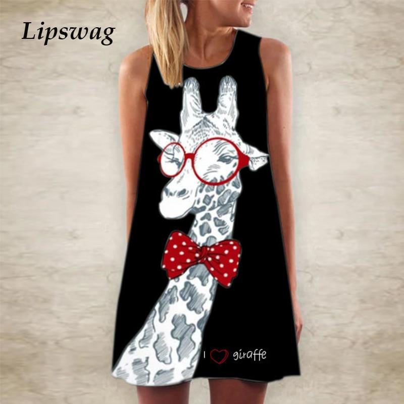 5XL Women Giraffe Print T Shirt Mini Dress Summer Sleeveless Party Dress 2020 Fashion Elegant O Neck A-Line Dress Vestidos Femme 1