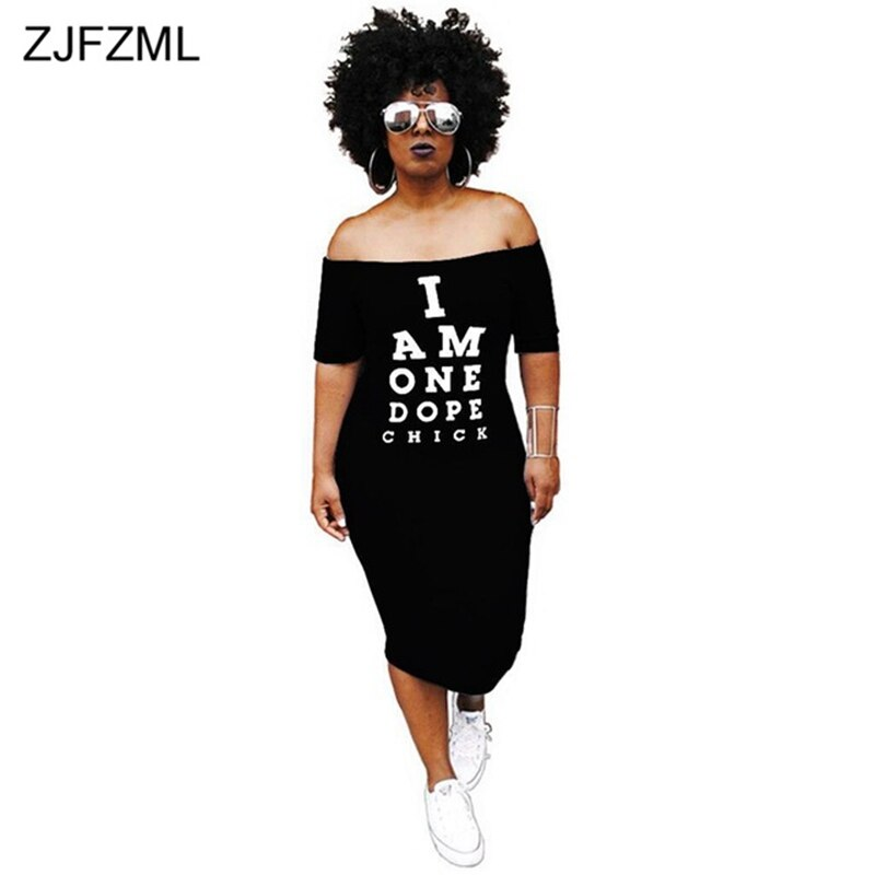 ZJFZML Off Shoulder Sexy T Shirt Dress Women Letter Print Slash Neck Bandage Dress Summer Short Sleeve Backless Mid-Calf Dress 4
