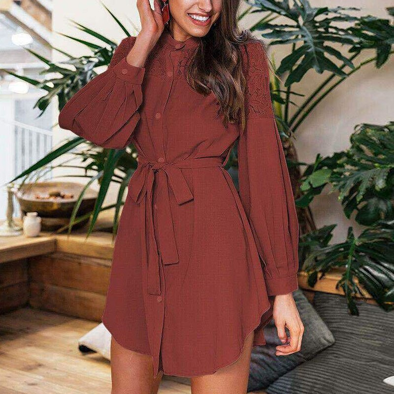 Women Elegant Turn-Down Collar Shirt Dress 2020 Autumn New Fashion Zipper Mini Dresses Office Lady Lantern Sleeve Letter Dresses 2