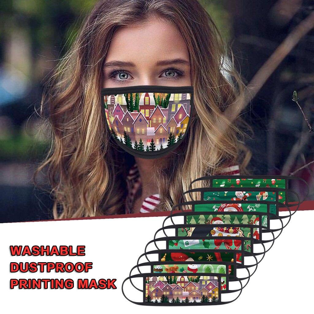 1PC Unisex Protect Spitting Protective Christmas Face Mask Adjustable Soft Washable Printed Pattern Mascarilla Navida