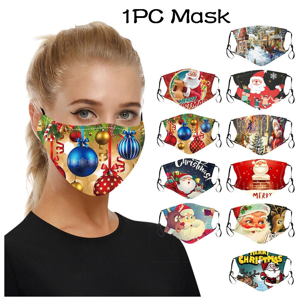 Adult Christmas Face Mask Washable Reusable Mouth-macks Adjustable Dust-Proof Protective Mask Cotton Mouth Cover mascarilla