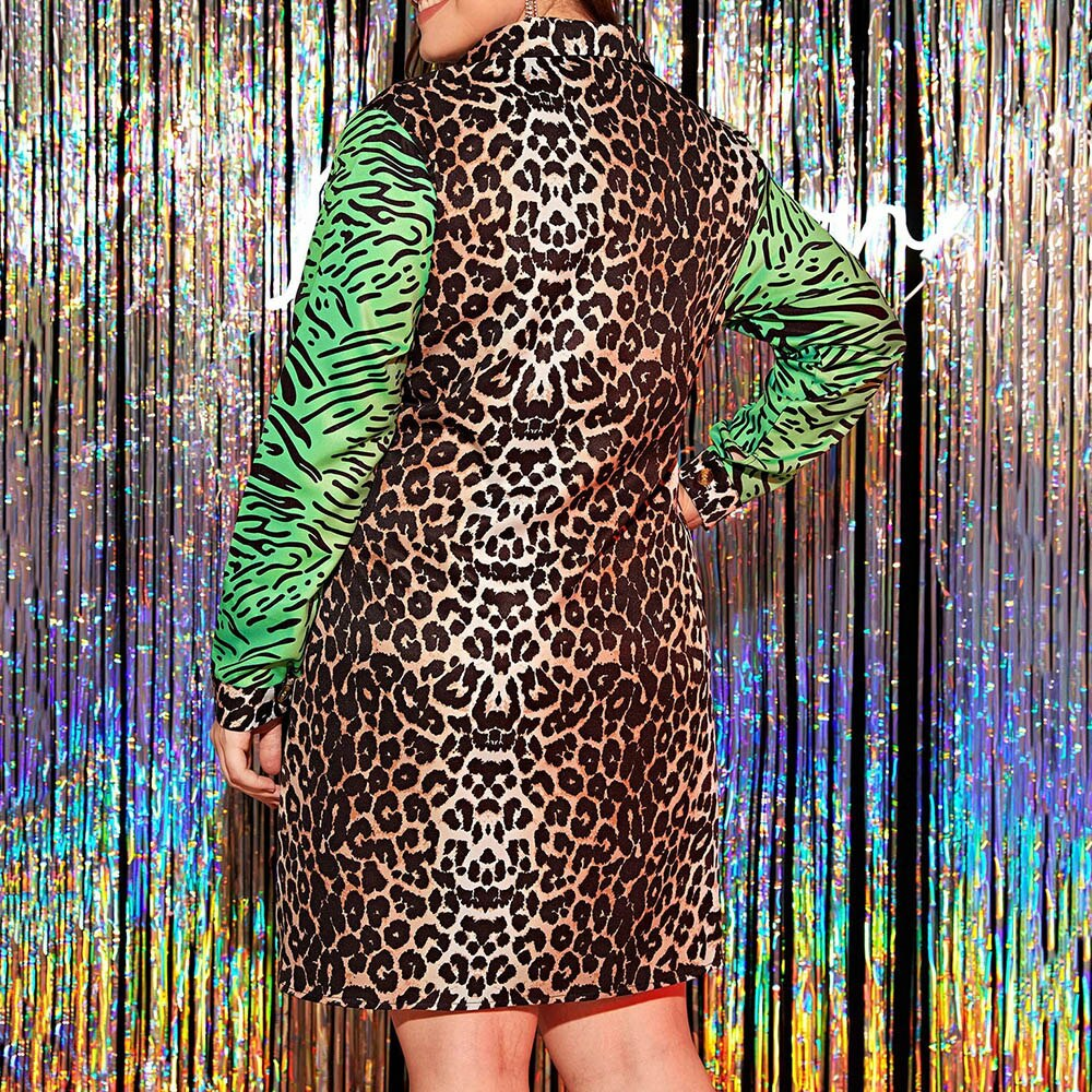 Leopard Printed Women Dress Autumn 2020 African Turn Down Collar Long Sleeve Plus Size Dress Vestiods Robe Shirt Dresses 2