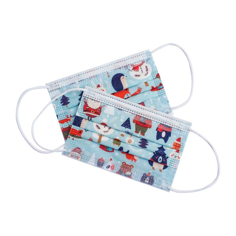 10/50/100pcs Disposable Christmas Face Mask Style Layer 3 Non-woven Fabrics Cartoon Printing Anti-dust Mouth Mask For Kids 2
