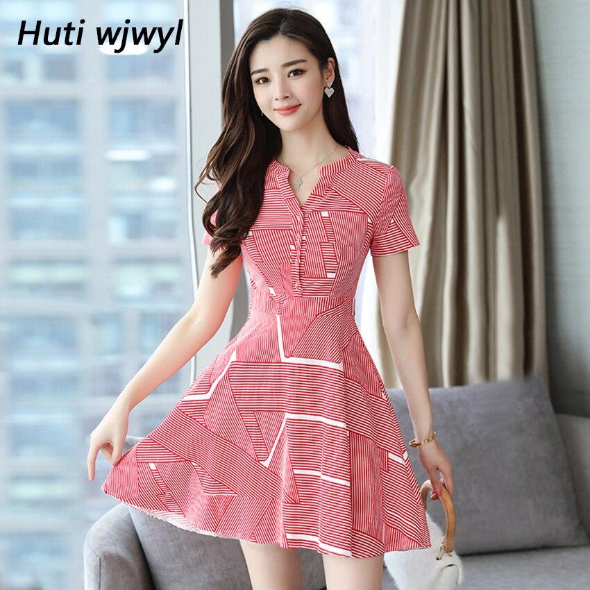 Huti Wjwyl Summer Red Striped Mini Sundress 2020 Bodycon Elegant Women Club Midi Dresses Party Short Shirt Dress Beach Vestidos 1