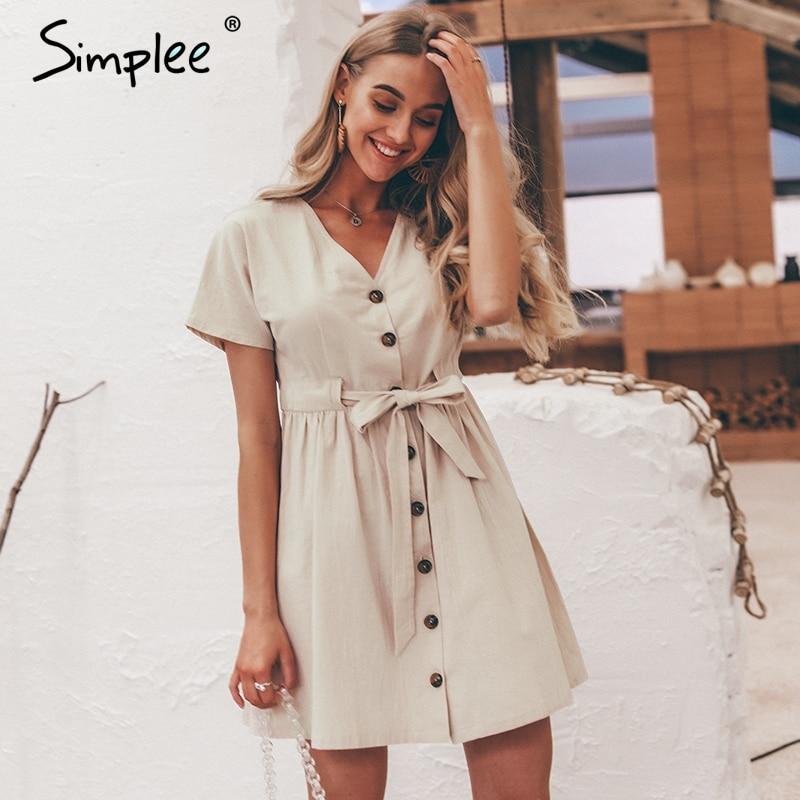 Simplee Vintage buttons women dress shirt V neck short sleeve cotton linen short summer office dresses Casual korean vestidos 1