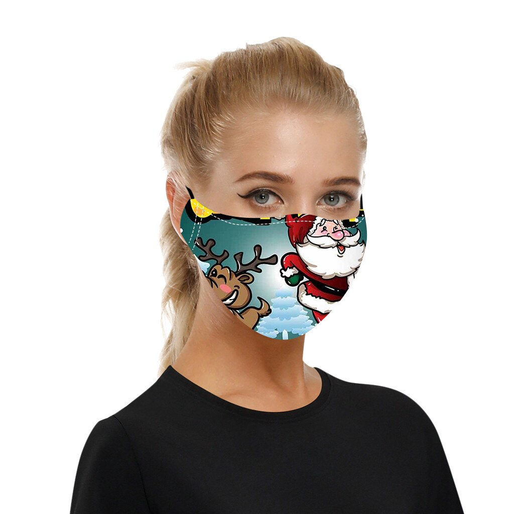 Adult Christmas Face Mask Washable Reusable Mouth-macks Adjustable Dust-Proof Protective Mask Cotton Mouth Cover mascarilla 4