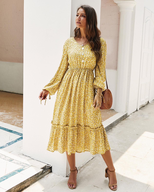 ZITY Vintage Floral Print Maxi Dress Women Boho Long Sleeve V -Neck Lantern Sleeve Long Dress Casual Ruffles Shirt Dresses Robe 3