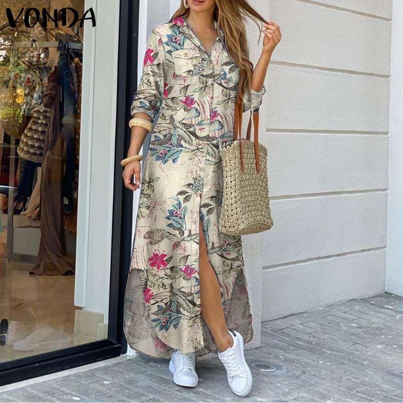 VONDA Maxi Long Dress 2020 Women Vintage Printed Long Sleeve Shirt Dresses Plus Size Bohemian Vestidos Elegant Beach Sundress