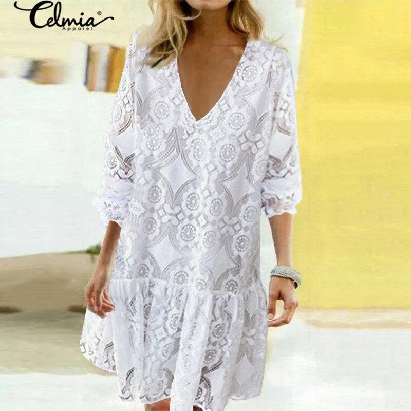 2020 Bohemian Lace Women Summer Dress Celmia Fashion Vintagr Sundress Female Casual V Neck Mini Vestidos Party Shirt Robe S-5XL 1