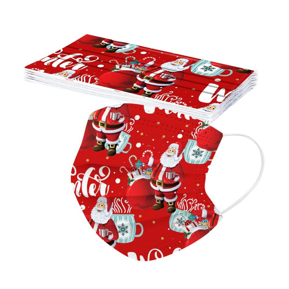 10pcs Christmas Face Mask Disposable Santa 3ply Earloops Adult Facemask mascarillas navidad tapabocas Mascherine masque Маска 3