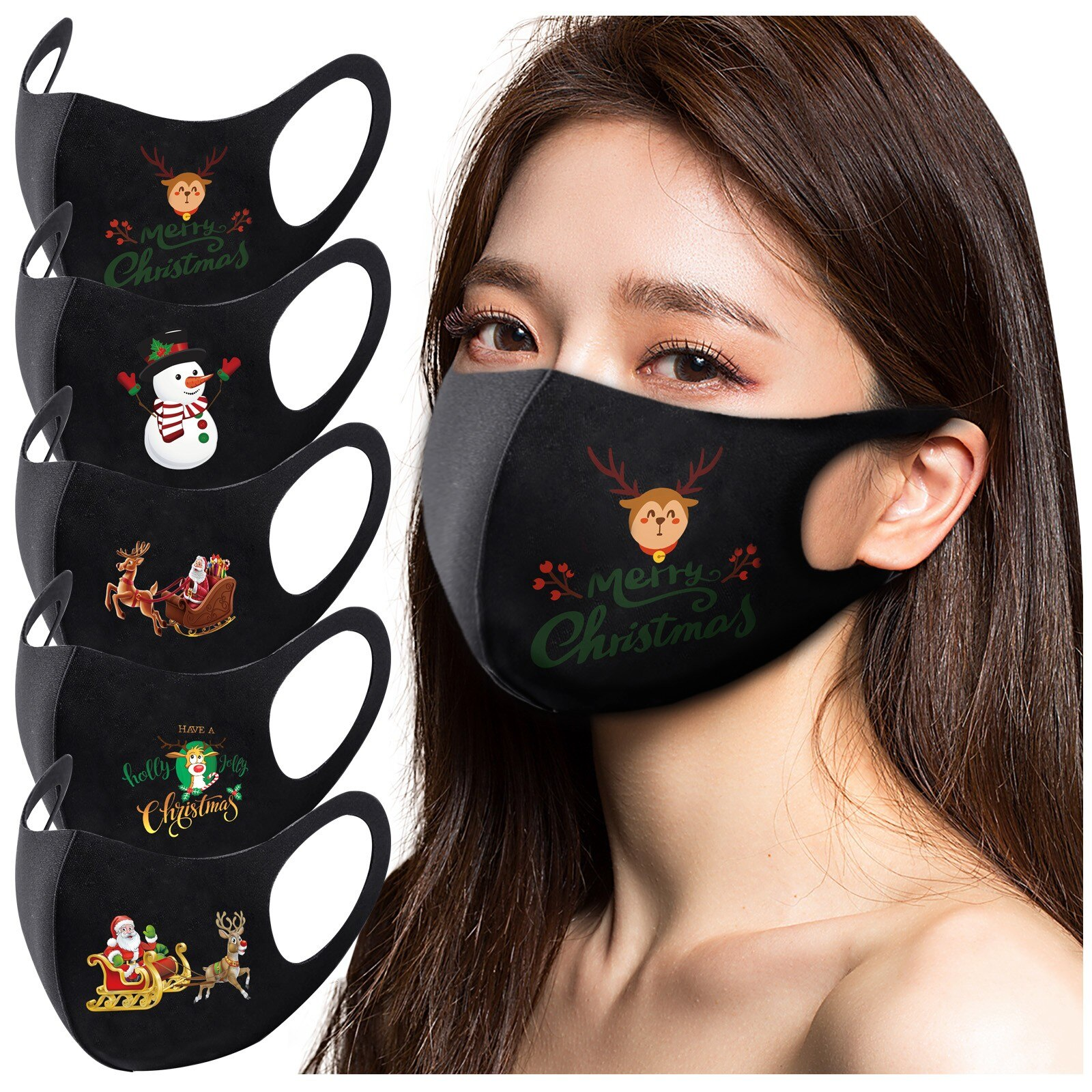 5pc Adult Christmas Face Mask Washable Mouth Fabric Facial Mask For Protection Reusable Santa Earloop Mouth Caps Маска mask 9.29 1